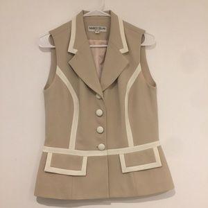 Marco Selini vest. Tan with white trim  size 12